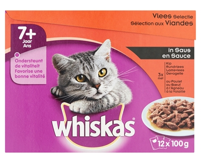 Whis multipack pouch senior vlees selectie in saus (4X12X100 GR)