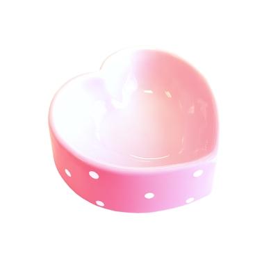 Happy pet voerbak polka dot hart roze (16 CM)