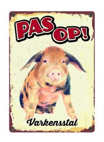 Plenty gifts waakbord blik varkensstal (15X21 CM)