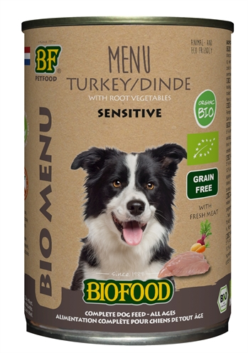 Biofood organic hond kalkoen menu blik (12X400 GR)