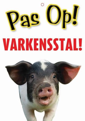 Waakbord nederlands kunststof varkensstal (21X15 CM)